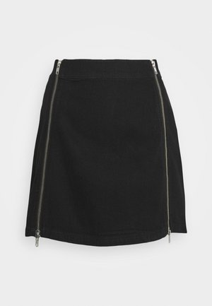 ZIP UP MINI SKIRT - Mini skirt - black