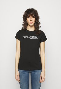 HUGO - THE SLIM TEE - T-shirts med print - black - 0