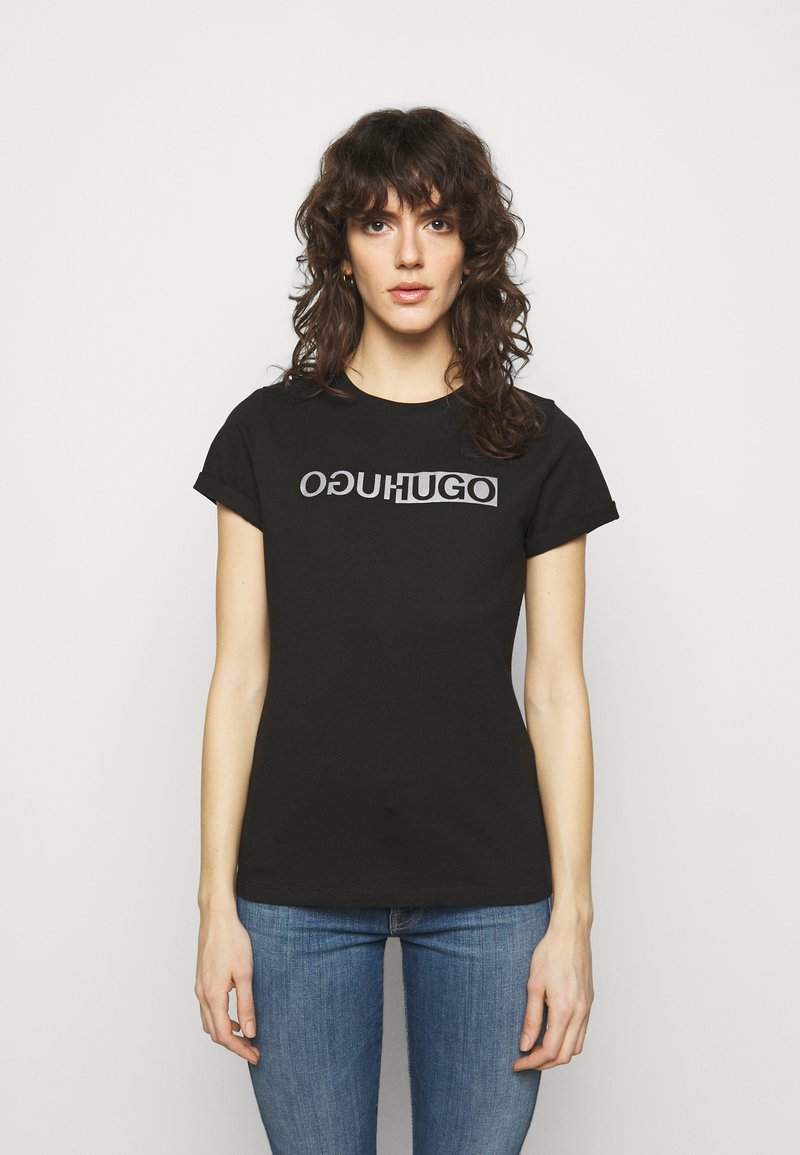 HUGO - THE SLIM TEE - T-shirts med print - black