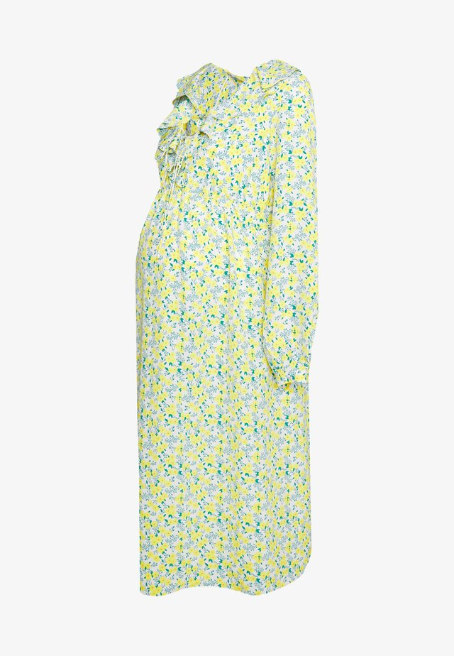CARE LONGLSEEVE MIDI DRESS - Vapaa-ajan mekko - white/yellow