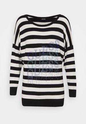 CLAUDINE BAT SLEEVE - Sweatshirt - white/black