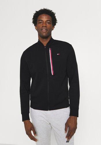 STRIPE BOMBER - Zip-up hoodie - black
