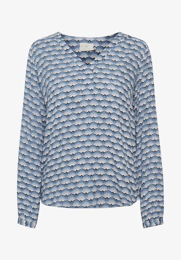 Kaffe KABELLEN AMBER - Bluzka z długim rękawem - blue tone fan print/niebieski LUZL