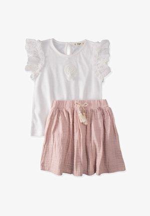 T-SHIRT AND  MUSLIN SKIRT SET - Mini skirt - off-white