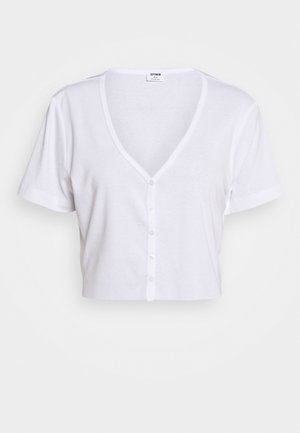 JESSIE BUTTON THROUGH HENLEY SHORT SLEEVE - T-shirts print - white