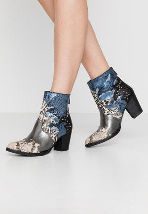 Cowboy/biker ankle boot - blue