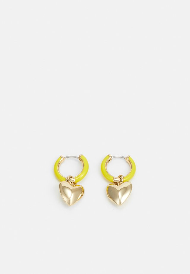 PUFFY HEART HUGGIE HOOP - Earrings - gold-coloured