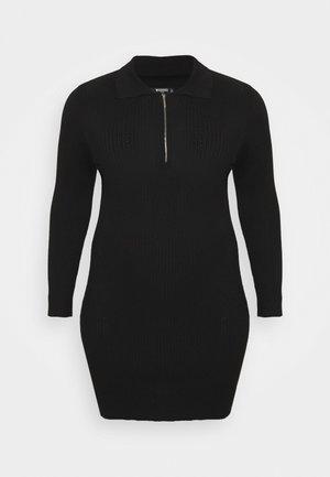 ZIP FRONT COLLAR MINI DRESS - Day dress - black