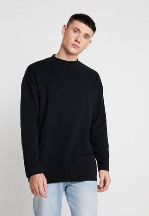 PEACHED OPEN EDGE INTERLOCK WINTER - Long sleeved top - black