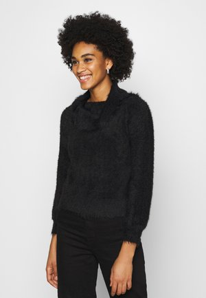 FLUFFY OFF SHOULDER  - Sweter - black