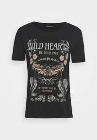 Even&Odd - LOULOU WILD HEARTS ROCK TEE - T-shirt con stampa - black - 3