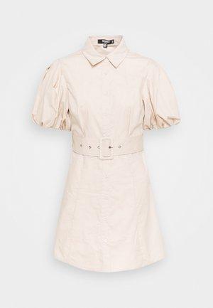 BELTED DRESS - Shirt dress - stone