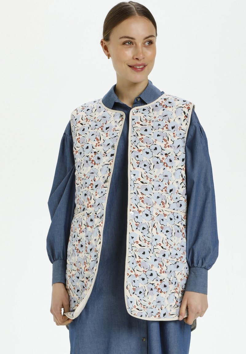 Soaked in Luxury - Waistcoat - blue peonia print