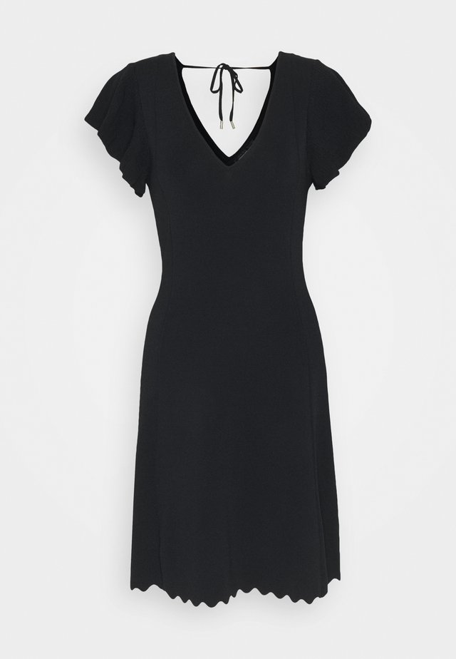 VANESSA FLUTTER SLEEVE DRESS - Pletené šaty - black