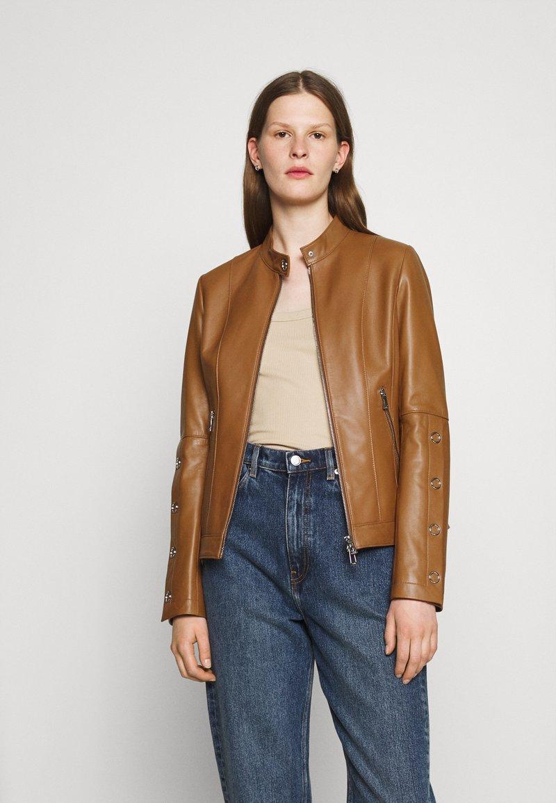 HUGO - LISAKA - Leather jacket - rust/copper