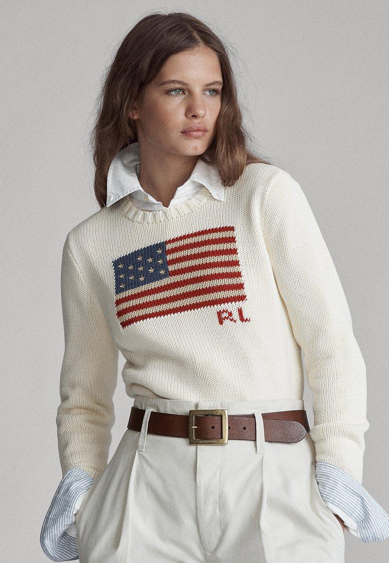 Polo Ralph Lauren - FLAG - Pullover - cream/multi