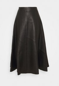 SKIRT MIDI - Leather skirt - black