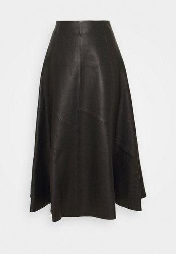 SKIRT MIDI - Leather skirt - black