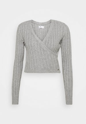 CROP WRAP FRONT - Strikkegenser - medium grey