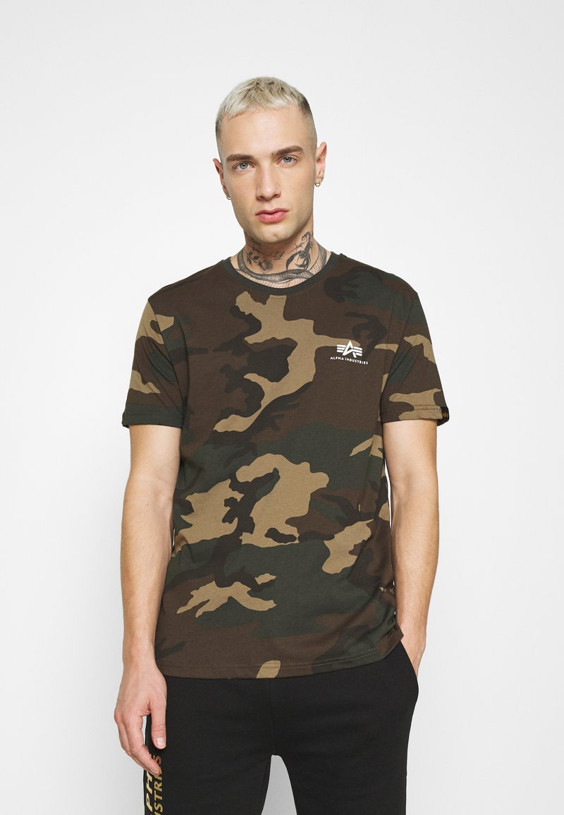 Alpha Industries - T-shirt z nadrukiem - mottley green