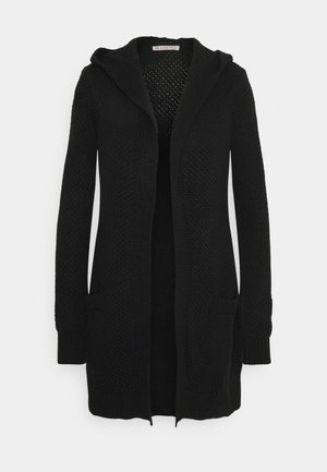 HOODED CARDIGAN - Chaqueta de punto - black