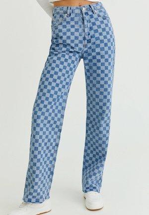MIT SCHACHBRETTMUSTER - Jeans straight leg - light blue