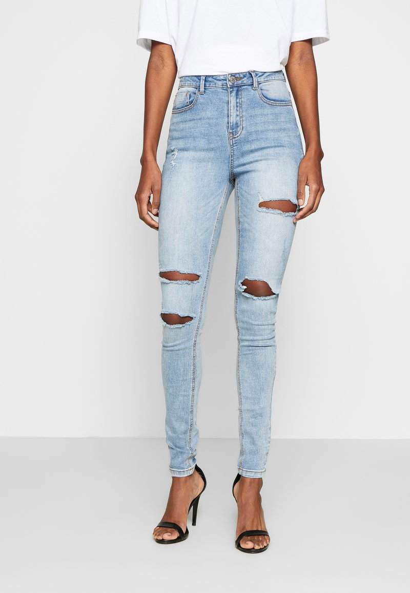 Missguided Tall - SINNER WAISTED AUTHENTIC RIPPED MID - Jeans Skinny Fit - blue