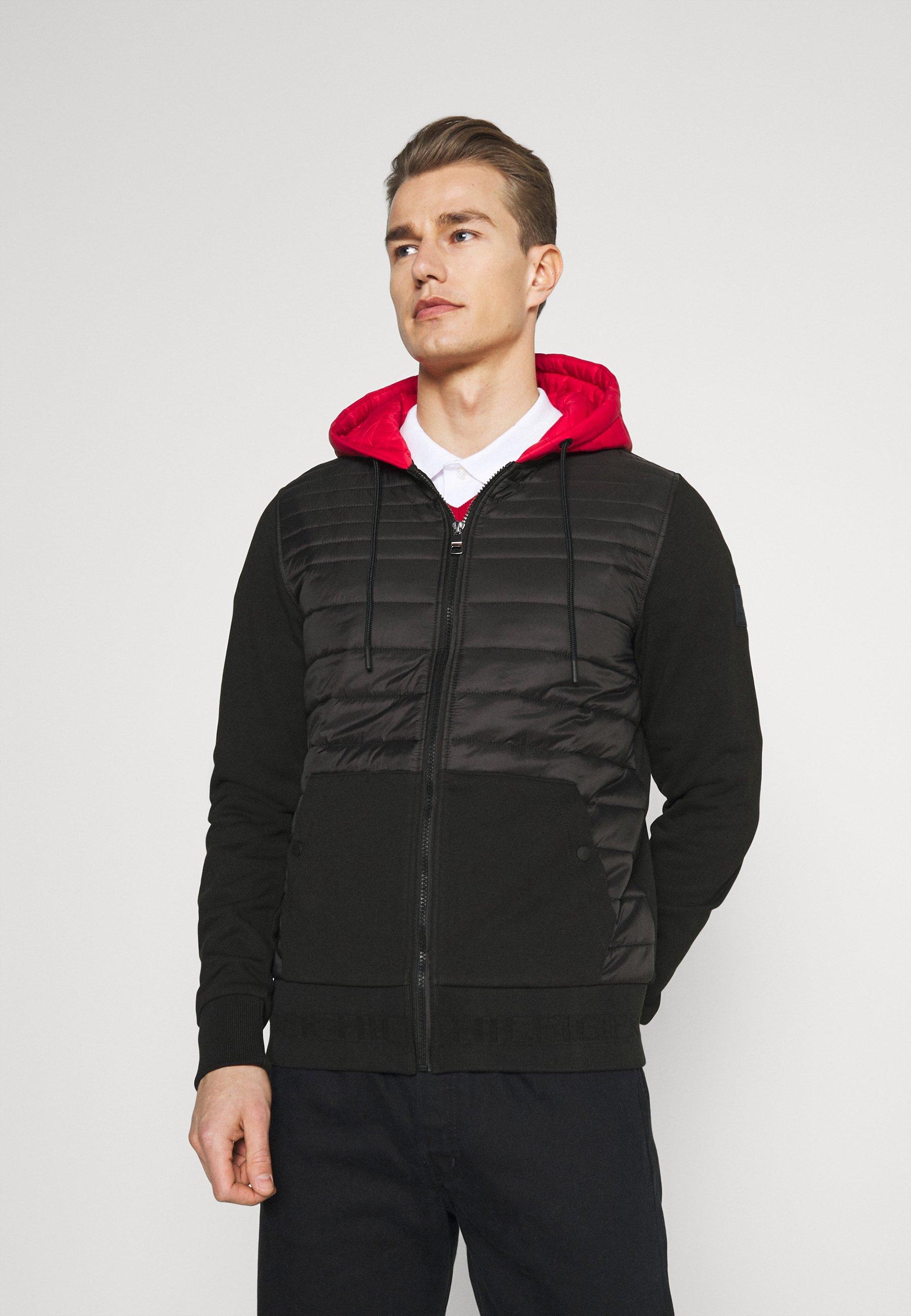 Men MIXED MEDIA ZIP HOODY - Light jacket