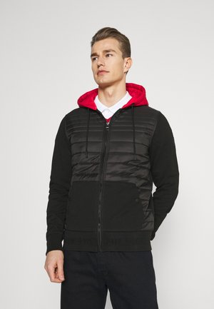 MIXED MEDIA ZIP HOODY - Giacca da mezza stagione - black