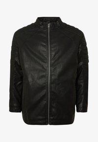 TOM TAILOR MEN PLUS - BIKER JACKET - Faux leather jacket - black - 5