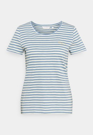 STRIPED TEE WITH EMBRO - T-shirt print - blue/creme/yellow