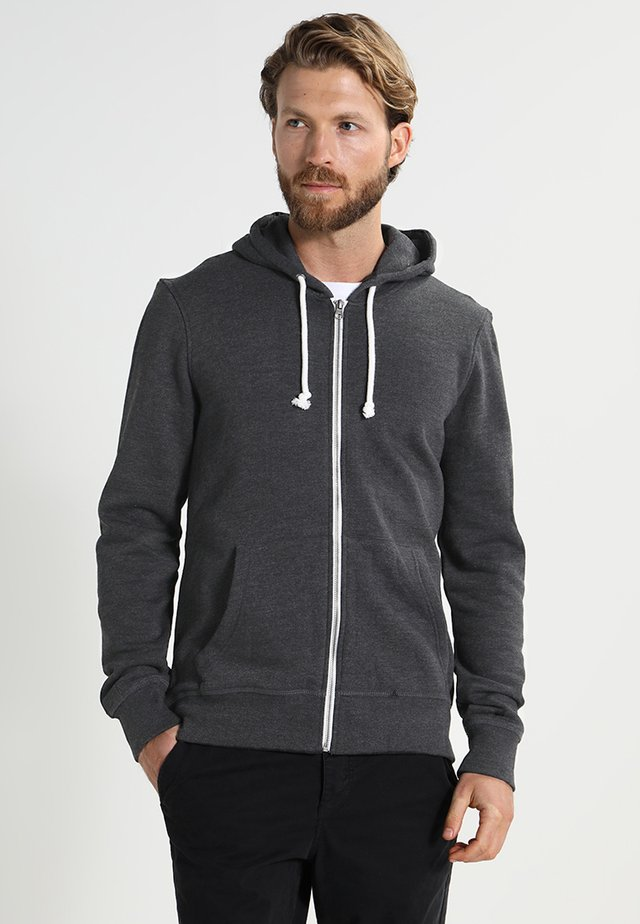 Zip-up hoodie - black melange