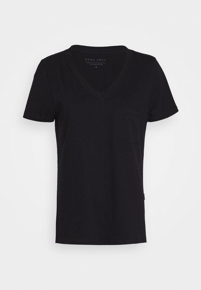 V NECK TEE - T-shirts - midnight