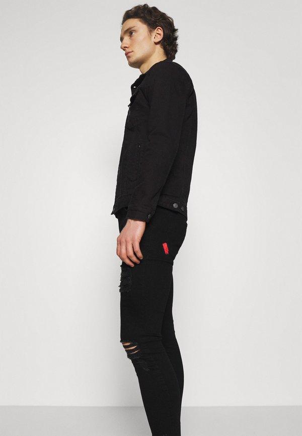 11 DEGREES DISTRESSED SKINNY FIT - Jeansy Skinny Fit - jet black wash/czarny denim Odzież Męska PPQO