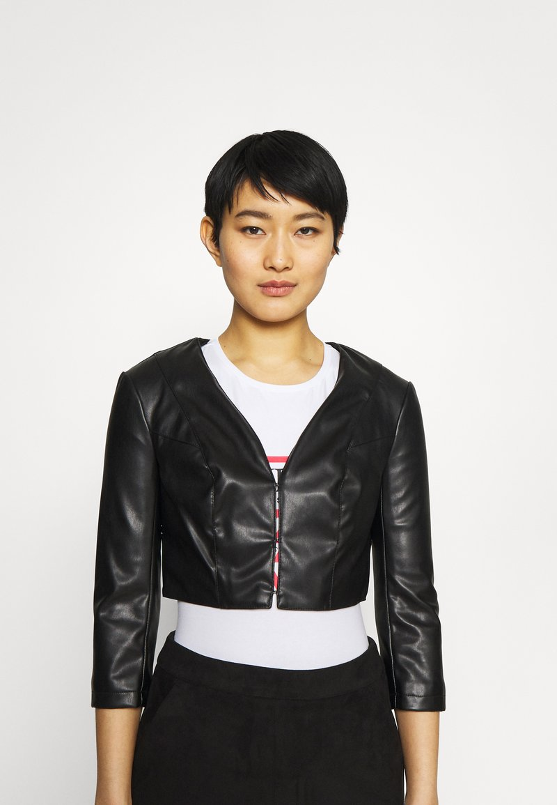 Guess - GEORGIA CROPPED - Faux leather jacket - jet blac