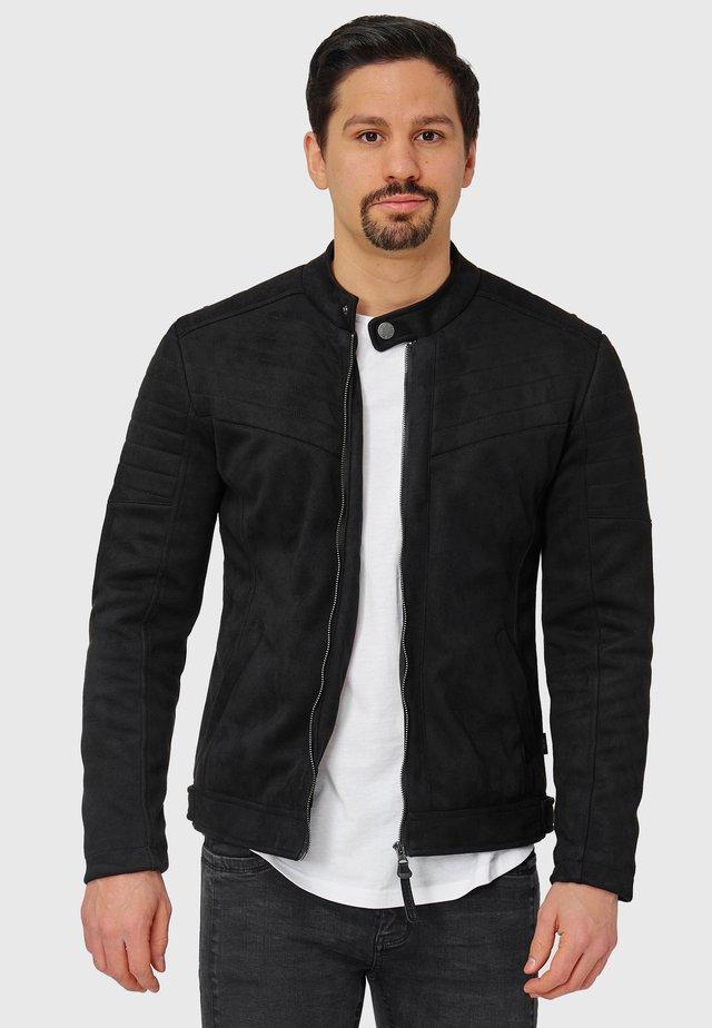 MONTES - Imitatieleren jas - black