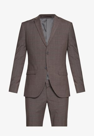 CHECK SUIT - Kostym - brown