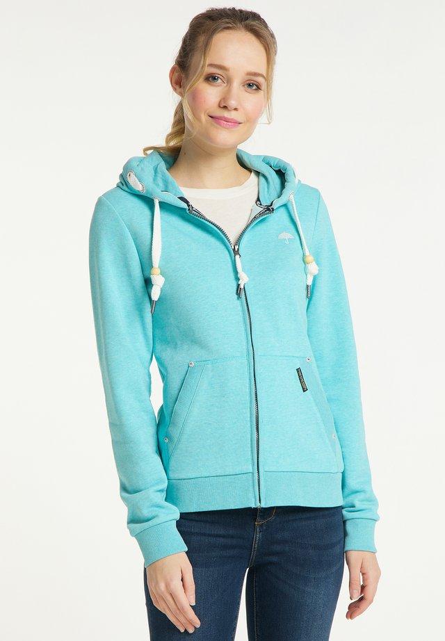 Zip-up hoodie - rauch aqua melange