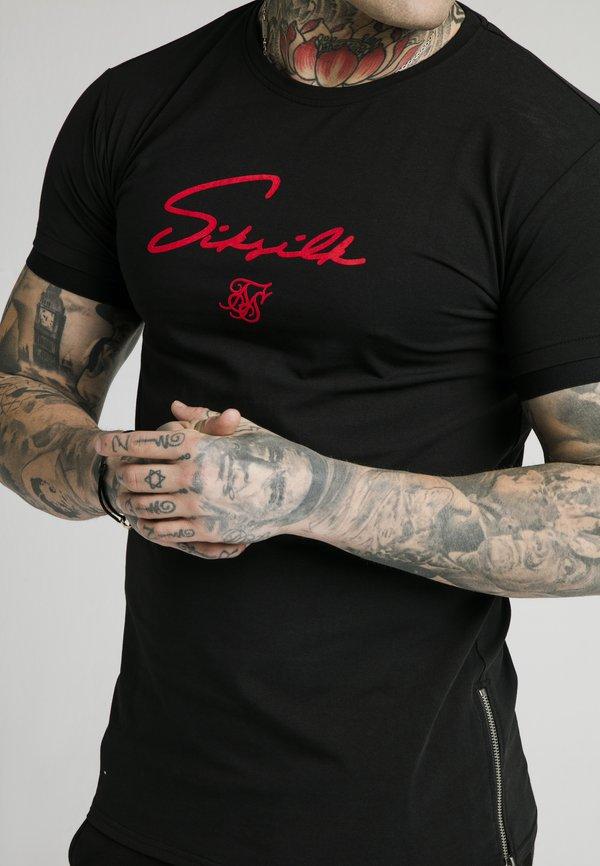 SIKSILK SIGNATURE TEE - T-shirt z nadrukiem - black/red/czarny Odzież Męska MULZ