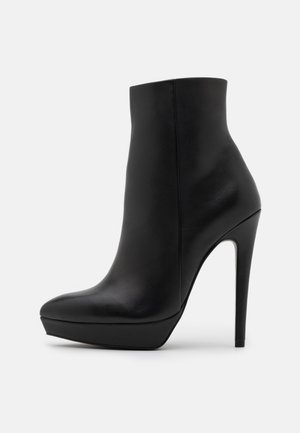 LEATHER - Bottines à talons hauts - black
