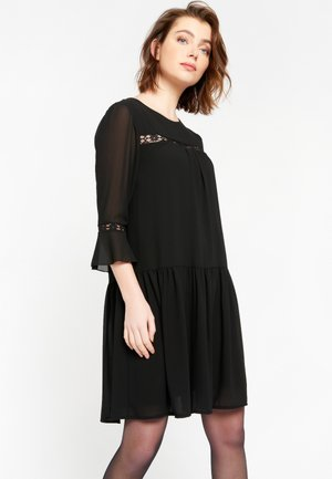 CROPPED WITH LACE DETAILS - Day dress - black