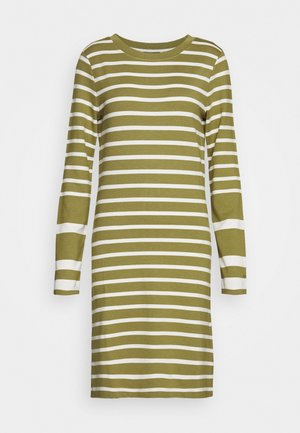 DETAIL STRIPE DRESS - Jersey dress - olive green