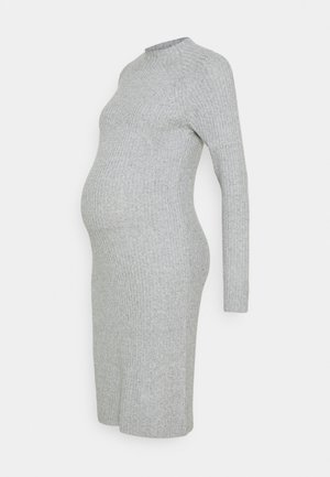 PCMDISA MOCK NECK DRESS - Strikkjoler - light grey melange