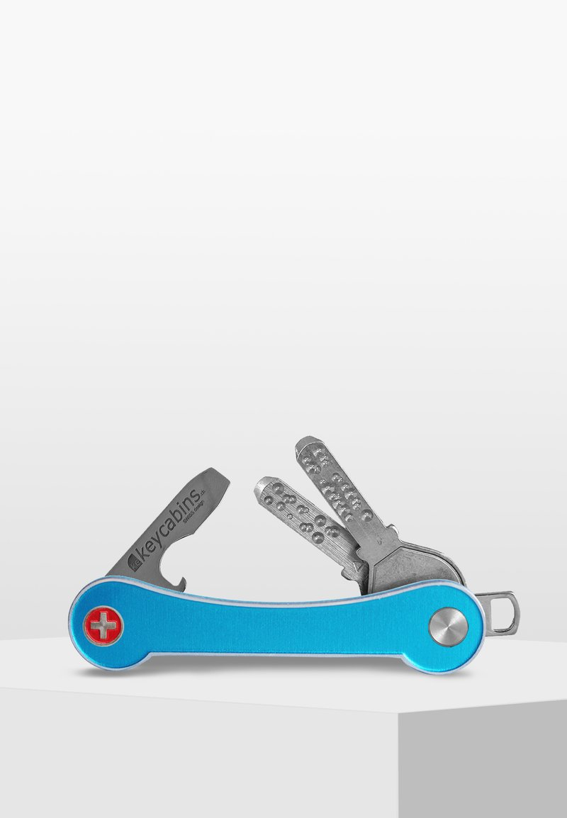 Keycabins - SWISS  - Keyring - blue light-frame