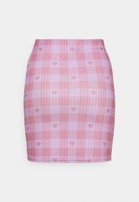 NEW girl ORDER - HEART GINGHAM SKIRT - Mini skirt - purple - 1