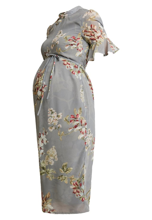 FITTED PENCIL WITH FLUTED SLEEVE - Robe d'été - grey print