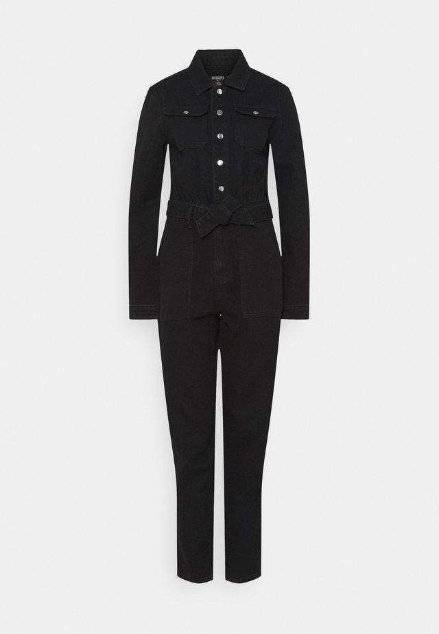 BUTTON THROUGH BOILER SUIT - Jumpsuit - black
