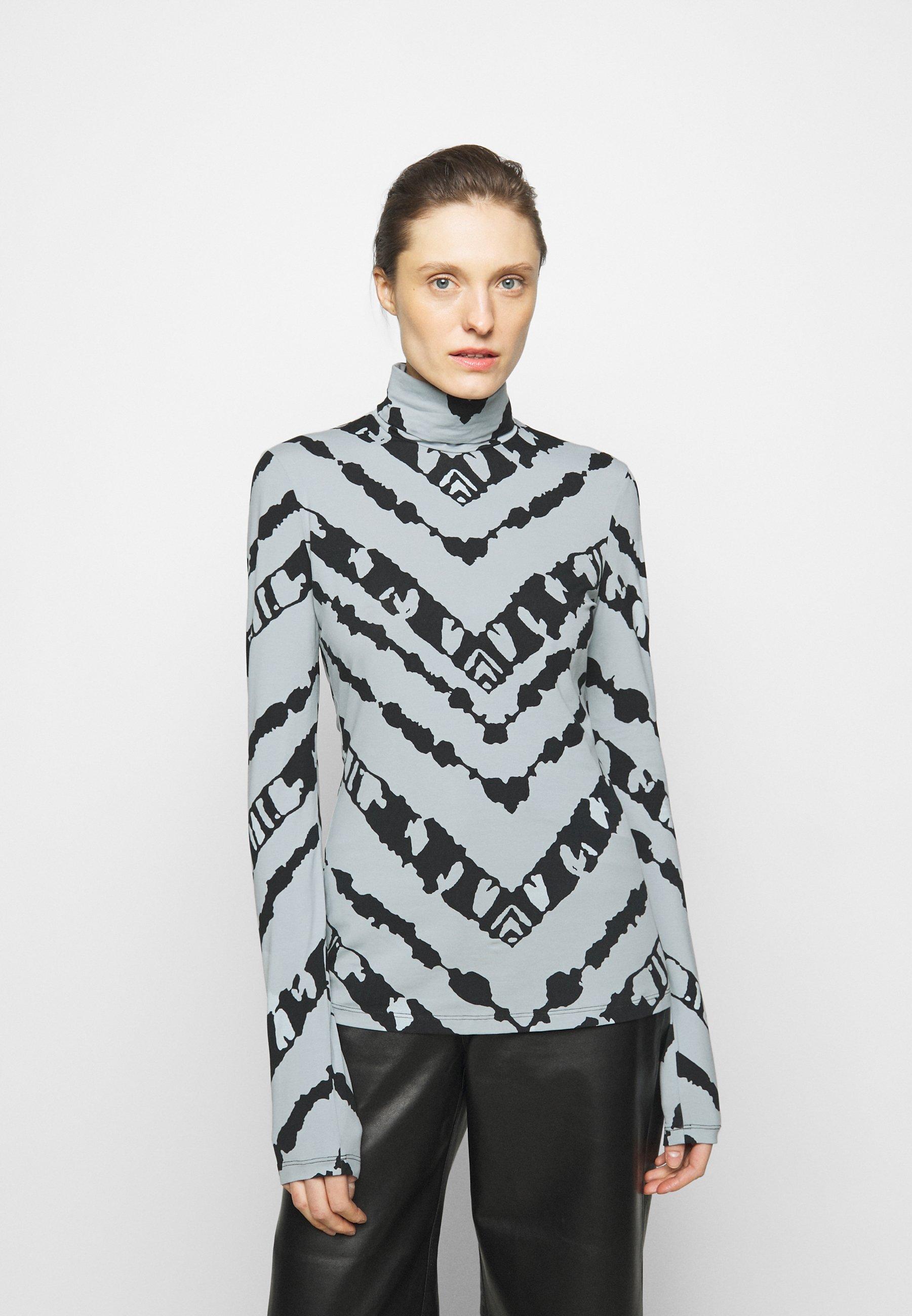 Women SHEER STRETCH TNECK SLIT - Long sleeved top