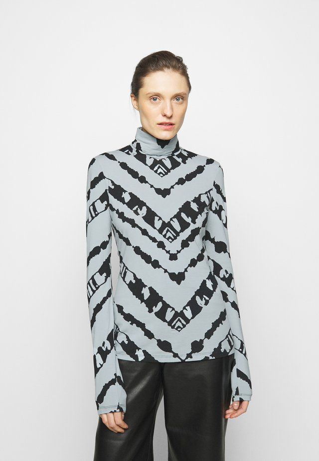 SHEER STRETCH TNECK SLIT - Longsleeve - steel blue chevron