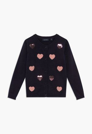 KIDS SEQUIN HEARTS - Cardigan - nachtblau